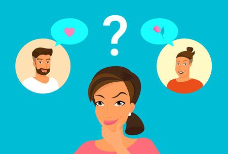 wondering: Cute woman doubting between two handsome guys