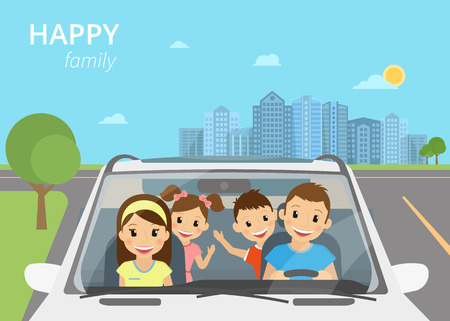 family trip: Happy family with children travelling by car Illustration