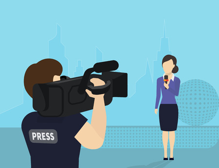 Female journalist with microphone is broadcasting live news looking to videographer