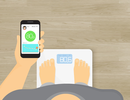 Man is getting information of his weight using mobile app for smart scales