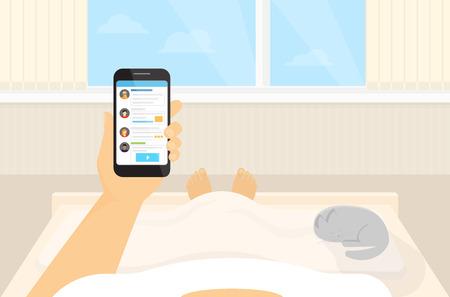 im bett liegen: Man liegt im Bett und das Lesen von Nachrichten in sozialen Netzwerken am fr�hen Morgen Illustration