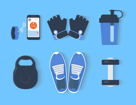 Fitness icons set - six elements illustration on blue background