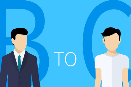 b2c: B2C business model concept illustration of businessman and cliet on blue background