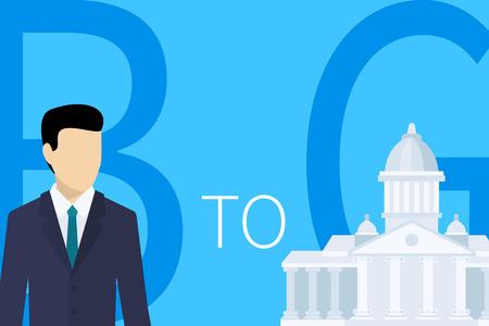 governance: B2G business model concept illustration of businessman and cliet on blue background