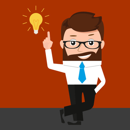 invent clever: Lucky businessman has an idea. Conceptual illustration