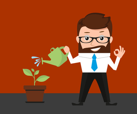 Lucky businessman cares about invested money to new project. Conceptual illustration Vector