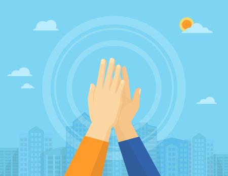 Twee handen geven van een high five voor grote werk Stock Illustratie