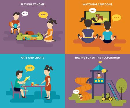 niños en recreo: Familia con iconos concepto plana conjunto de ferrocarril para niños, dibujos animados, manualidades y juegos infantiles