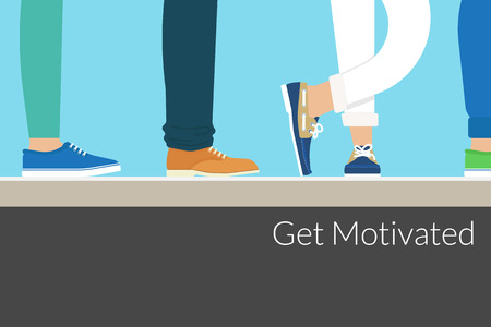 motivated: Modern people wearing stylish shoes are waiting something. Background with motivated text. Text outlined. Free font Lato Illustration