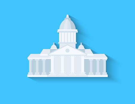 municipal court: Government flat design with long shadow on blue background