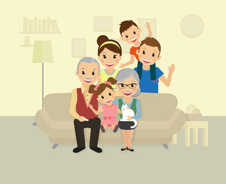 vejez feliz: Familia feliz. Sonreír papá, mamá, abuelos y dos niños sentados en casa Vectores