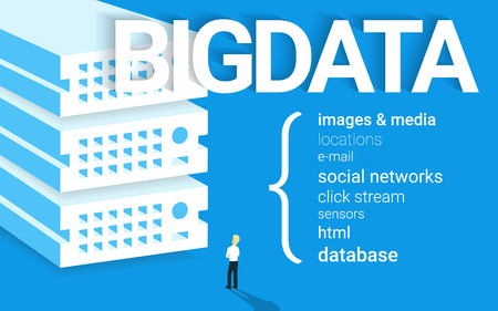 visualization: Infographic concept illustration of Big data with a man.