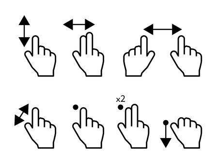 Touch screen hand gestures symbols set isolated on white