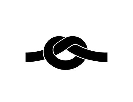 Nudo de la cuerda símbolo negro aislado en blanco Ilustración de vector