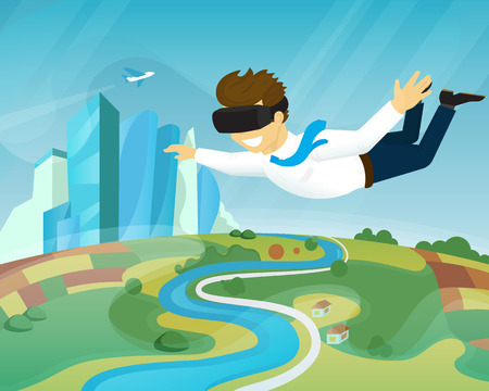fly: Happy guy is flying in the sky using head-mounted device for virtual reality
