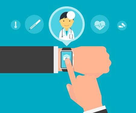urgencias medicas: Aplicaci�n de reloj inteligente para la salud con el m�dico personal