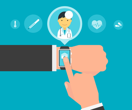 medical heart: Smart wristwatch application for health with personal doctor