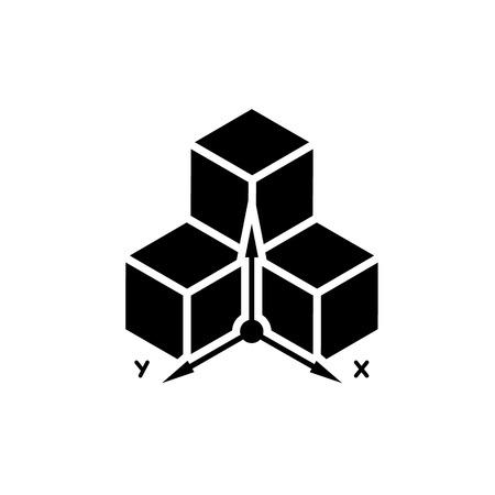 modeling: 3D cube model design black and white symbol isolated on white