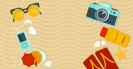 sand asia: Long summer banner without text. Top view with sunglasses, sunscreen, camera, cocktail on the beach.