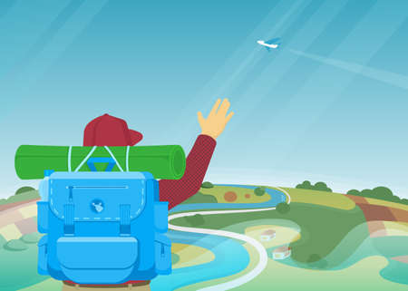 national parks: Happy explorer got an altitude and welcomes airplane in the sky Illustration