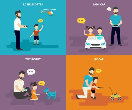 kinderschoenen: Gelukkig vader is spelen met kinderen. Gezin met begrip vlakke pictogrammen set van radiografisch bestuurbare helikopter, auto en robotica speelgoed