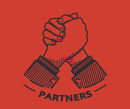 partners: Two business partners agreed a deal and doing handshaking. Illustration on red background