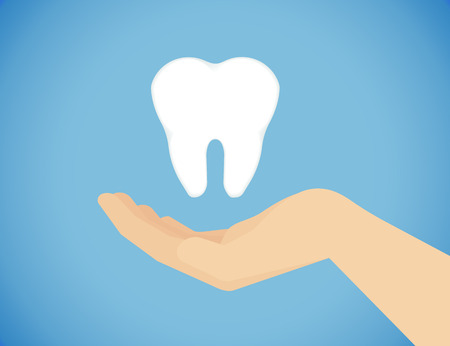 prophylaxis: Tooth care illustration of human hand caring of healthy teeth
