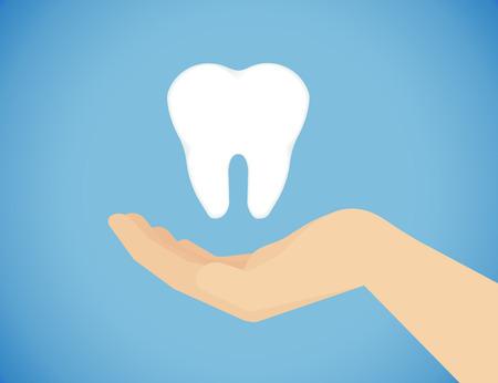 prophylaxe: Zahnpflege Abbildung der menschlichen Hand Pflege von gesunden Z�hnen Illustration
