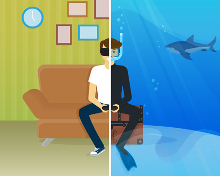Happy guy is sitting at home and doing scuba diving using head-mounted device for virtual reality.