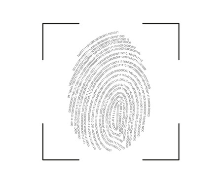 digitale vingerafdruk scanproces pictogram op een witte Vector Illustratie