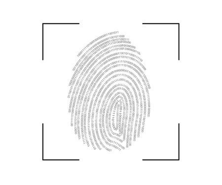 empreinte digitale processus de numérisation icône isolé sur blanc Vecteurs