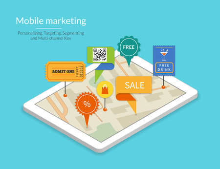 multi media: Mobile marketing and personalizing. Smartphone with map and tags. Text outlined, free font Lato