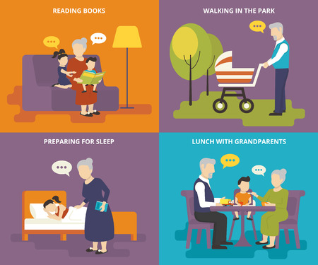 grandpa and grandma: Happy grandparents are playing with children. Family with concept flat icons set of reading books, preparing for sleep, having lunch and walking Illustration