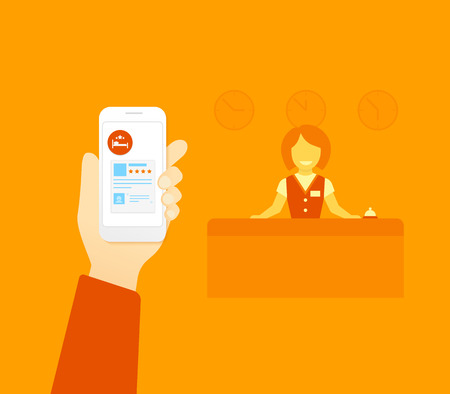 receptionist: Flat illustration concept process of booking hotel via mobile app