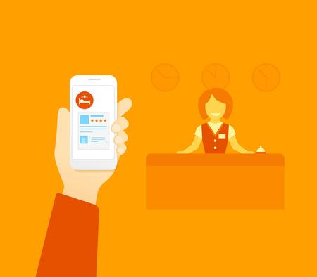 Wohnung Illustration Konzept Prozess der Buchung der Unterkunft via Handy-App