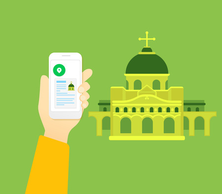 Human hand holds smartphone with mobile app for religious tourism Vector
