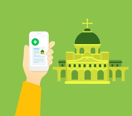 cruz religiosa: La mano del hombre sostiene smartphone con aplicación móvil para el turismo religioso