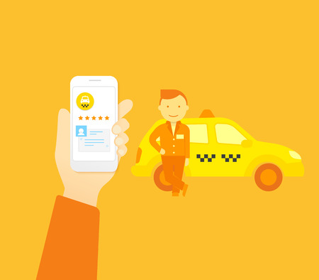 taxi sign: Flat illustration concept process of booking taxi via mobile app