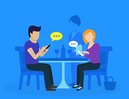 레스토랑에 앉아서 소셜 네트워크 용 스마트 폰을 사용하는 젊은 부부 일러스트