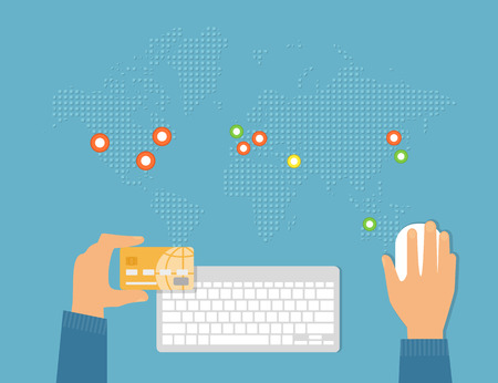 holding credit card: Global payment by credit card conceptual flat illustration