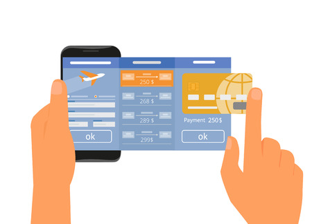 Human hand holds smartphone with mobile app for booking air passage. Text outlined
