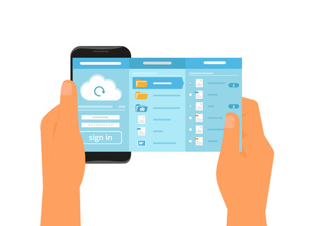 sync: Human hand holds smartphone with app for cloud sync. Text outlined