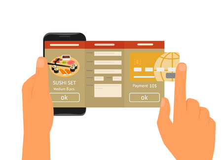 restaurant rating: Human hand holds smartphone with mobile app for ordering sushi. Text outlined