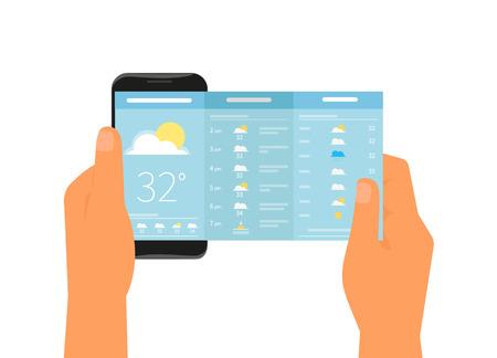 meteo: Mano umana tiene smartphone con app per previsioni del tempo. testo delineato Vettoriali
