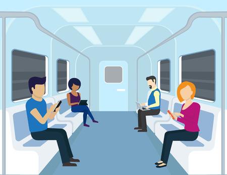 人は、地下鉄でガジェットを使っています。フラットな近代的なイラスト