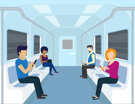 man using computer: People are using gadgets in the subway. Flat modern illustration