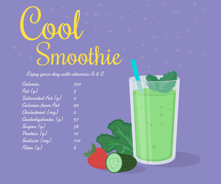 kale: Green cool smoothie of kale, cucumber and strawberry with nutrition information. Text outlined free fonts Damion,  Rochester Illustration