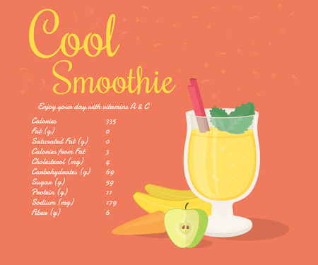 fruit and veg: Yellow cool smoothie of banana, apple and carrot with nutrition information. Text outlined free fonts Damion,  Rochester
