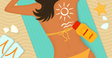sunscreen: Young girl sunbathes on a beach and caring about her health she uses sunscreen Illustration