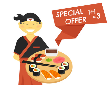 chelsea market: Japanese sushi chef wearing kimono with special offer banner isolated on white. Text outlined free font Chelsea Market Illustration